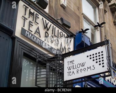 Sign outside the Willow Tea Rooms in Sauchiehall Street, Glasgow, Scotland, with Charles Rennie Mackintosh design - Stock Photo