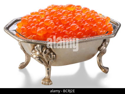 Red caviar is in a silver bowl - Stock Photo