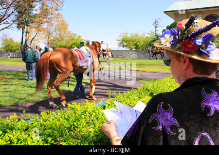 Spectators watch thoroughbreds warm up in paddock before a race at Keeneland Race Course Lexington Kentucky - Stock Photo