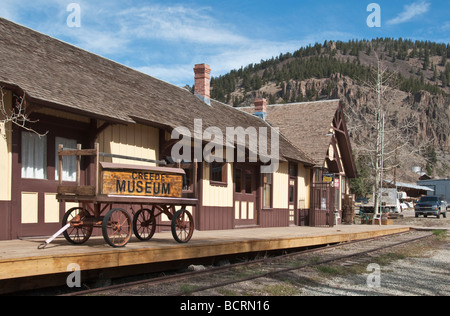 Colorado Creede Museum occupies original Denver Rio Grande Railway Depot - Stock Photo