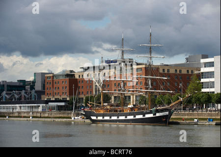 Jeanie Johnston is a replica of a 19th century sailing ship Based in Dublin Ireland - Stock Photo