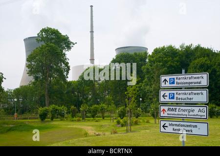 Information sign at the Gundremmingen nuclear power plant in Bavaria, Germany. Kernkraftwerk Gundremmingen, Bayern, - Stock Photo