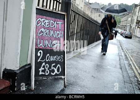 Credit crunch lunch sign outside restaurant in Bath South West England UK - Stock Photo