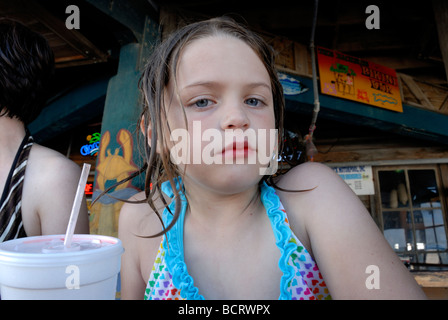 Young girl with skeptical look
