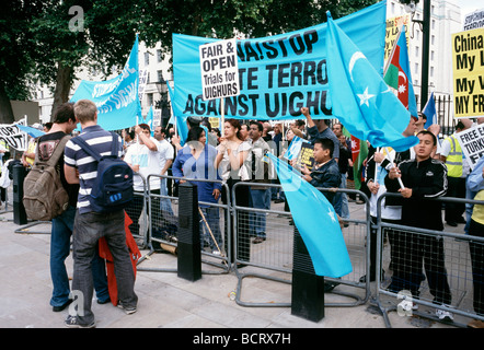 July 15, 2009 - Uighur protesters opposite Downing Street No 10 in London. - Stock Photo