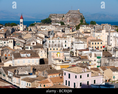 View over the historic old town of Kerkyra towards the Old Castle on Corfu Island in Greece - Stock Photo