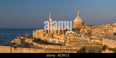 St Paul's Anglican Cathedral and Carmelite Church Valletta Malta - Stock Photo