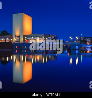 Groninger Museum at the Blue Hour Groningen Netherlands - Stock Photo