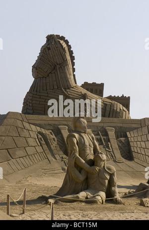 Sand sculpture interpretation of the Trojan War of ancient Greece - Stock Photo