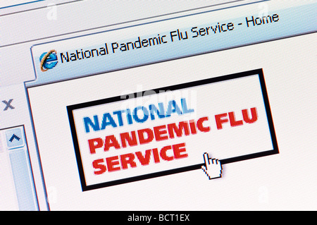 Macro screenshot of the UK's National Pandemic Flu Service website launched on July 23 2009 (Editorial use only). - Stock Photo