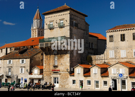 Church and Convent of St Nicholas in old town of Trogir on Dalmatian Coast of Croatia - Stock Photo