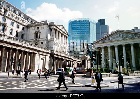The Bank of England and the Royal Exchange in the City of London. - Stock Photo