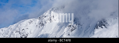 Hoher Goell massif in winter, Berchtesgaden national park, Bavaria, Germany - Stock Photo