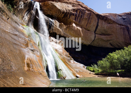 Calf Creek lower waterfalls in Calf Creek State Park, Utah, part of the Grand-Staircase Escalante National Monument. - Stock Photo