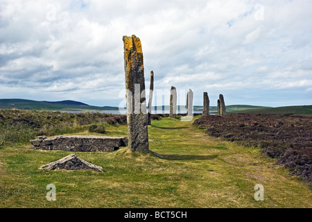 The Ring of Brodgar Standing Stones on mainland Orkney in Scotland - Stock Photo