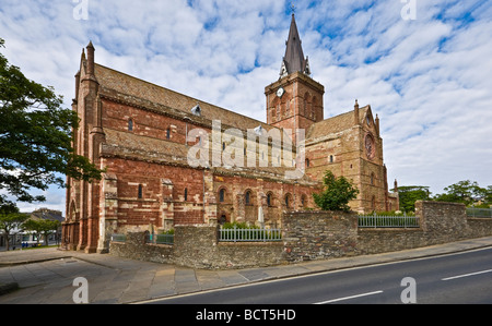St. Magnus Cathedral in the centre of Kirkwall on the mainland of Orkney in Scotland - Stock Photo
