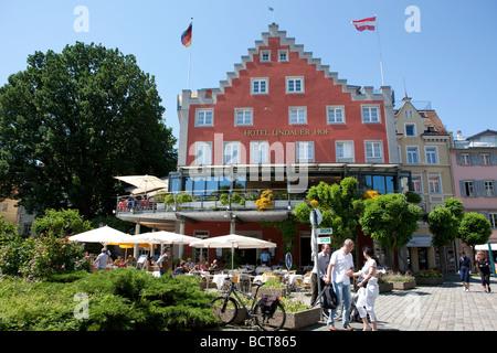 The Lindauer Hof Hotel in Lindau, Lindau am Bodensee, Lake Constance, Bavaria, Germany, Europe - Stock Photo