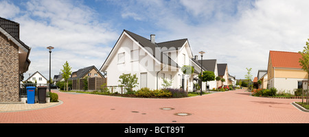 panoramic view of typical newly developed suburban residential area in Germany - Stock Photo