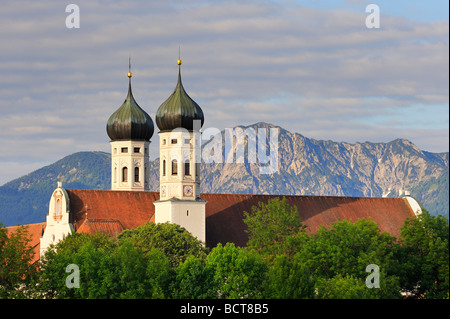 Kloster Benediktbeuern monastery in the morning light, district of Bad Toelz-Wolfratshausen, Bavaria, Germany, Europe - Stock Photo
