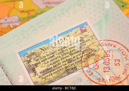 Turkey Turkish tourism tourist travel visa entry stamp in passport with map 2009 - Stock Photo