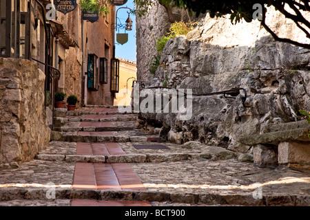 Ancient road through Eze along the Cote d'Azur, Provence, France - Stock Photo