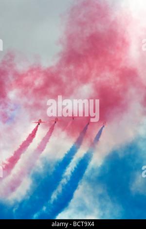 The RAF Red Arrows aerobatic team - Stock Photo