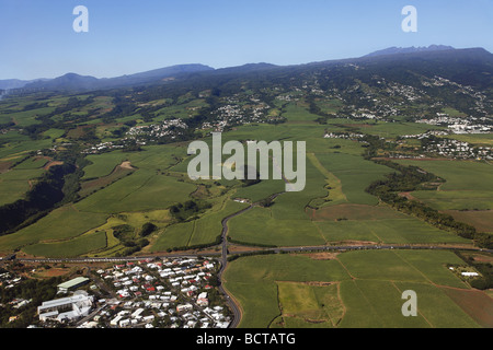 aerial view of Reunion island - Stock Photo