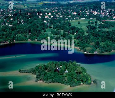 Roseninsel island, aerial picture, Feldafing at Lake Starnberg, Upper Bavaria, Bavaria, Germany, Europe - Stock Photo