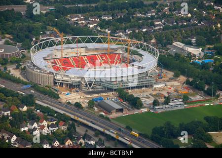 Aerial photograph construction site Bay Arena soccer stadium, Bayer 04 Leverkusen, Leverkusen, North Rhine-Westphalia, - Stock Photo