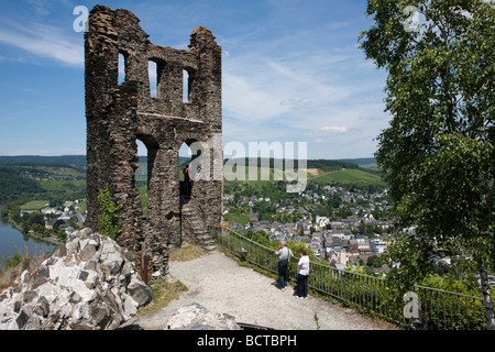 The ruins of Grevenburg castle built in 1350, overlooking the city of Traben-Trarbach, Mosel, district Bernkastel - Stock Photo