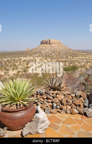 View from the hotel complex of Vingerklip Lodge at Khorixas, Namibia, Africa - Stock Photo