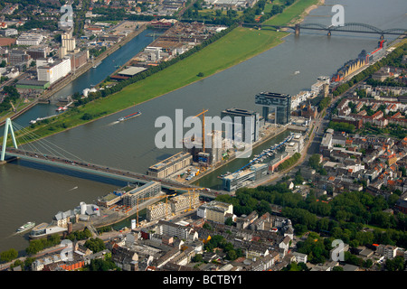 Aerial photograph, Kranhaus crane house construction site in Cologne Rheinauhafen, Pandion AG, Hafenquartier port - Stock Photo