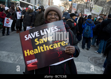 Union member city workers demonstrate in New York City against proposed budget cuts to deal with the present financial - Stock Photo