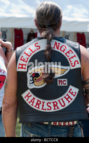 A member of the Hells Angels motorcycle club - Stock Photo