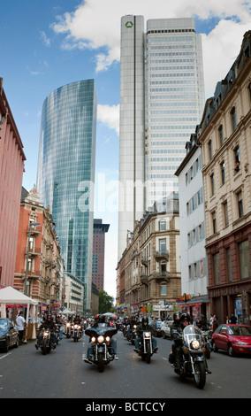 Motorcycle parade, Crime City Run, Frankfurt, Hesse, Germany, Europe - Stock Photo