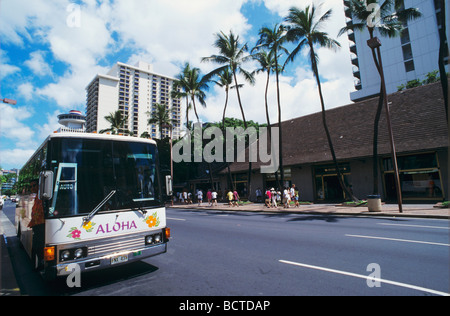 Honolulu skyline Hawaii USA August 1996 - Stock Photo