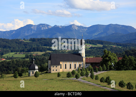 Pilgrimage church Wilparting, Irschenberg, Prealps, in the back the Mangfallgebirge mountains, Upper Bavaria, Bavaria, - Stock Photo