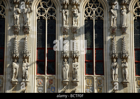 Detail of the facade of the city hall in the historic centre of Bruges, Belgium, Europe - Stock Photo