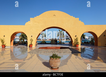 Exit traditional market, Souk, arch, marina, Hurghada, Egypt, Red Sea, Africa - Stock Photo