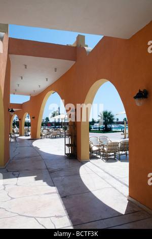 Arcades, arches, traditional market, Souk, marina, Hurghada, Egypt, Red Sea, Africa - Stock Photo
