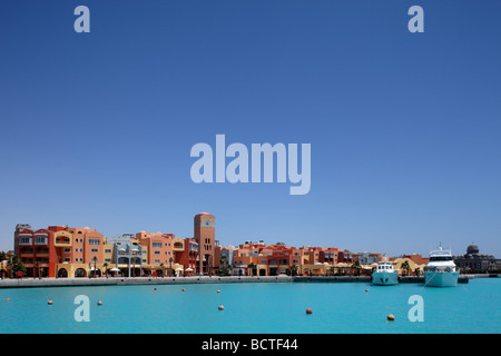 Row of houses at the marina, Hurghada, Egypt, Red Sea, Africa - Stock Photo