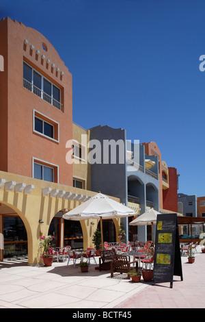 Open air restaurant, parasols, marina, Hurghada, Egypt, Red Sea, Africa - Stock Photo
