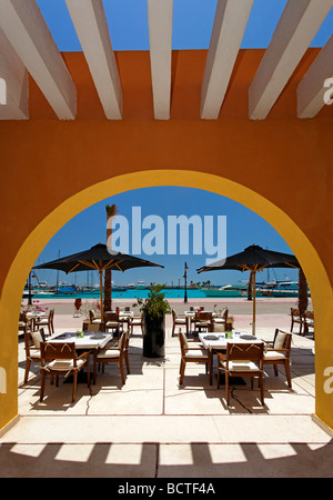 Open air restaurant, parasols, arch, marina, Hurghada, Egypt, Red Sea, Africa - Stock Photo