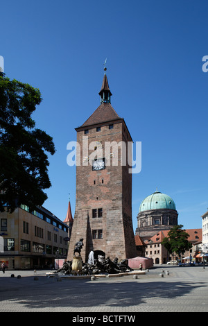Weisser Turm tower, turret clock, 1250, Ehekarussell fountain, Ludwigsplatz square, St. Elisabeth church, dome, - Stock Photo