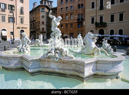 Fountain of Neptune, Piazza Navona, Rome, Latium, Italy, Europe - Stock Photo