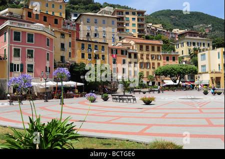 Europe Italy Zoagli mediterranean Liguria Region The piazza near the beach - Stock Photo