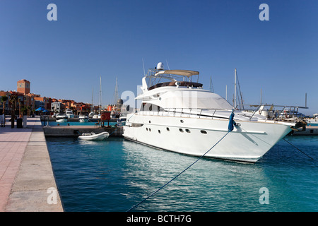 Private yachts in marina, Hurghada, Egypt, Red Sea, Africa - Stock Photo