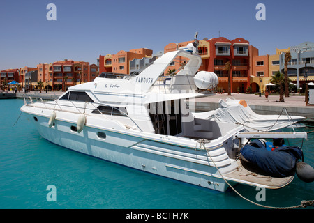 Private yacht in marina, Hurghada, Egypt, Red Sea, Africa - Stock Photo