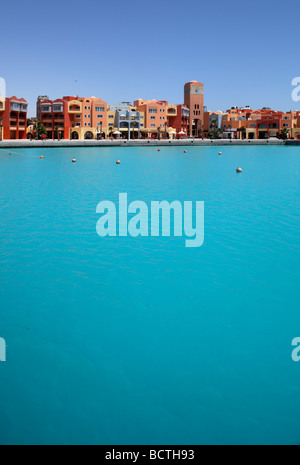 House fronts at marina, Hurghada, Egypt, Red Sea, Africa - Stock Photo