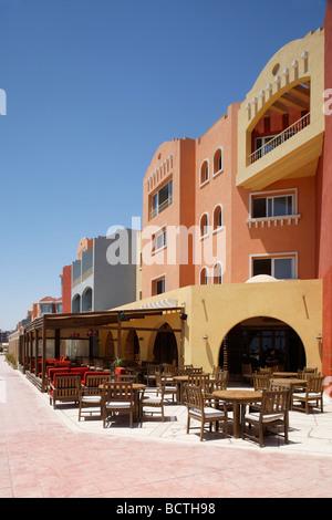 Open-air restaurant, Hurghada, Egypt, Red Sea, Africa - Stock Photo